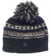 Pattern ridge bobble hat - pure wool - fleece lining - greys / blue