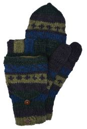 hand knit - pattern mitts - green/blue