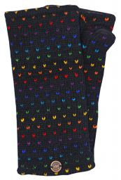 Fleece lined wristwarmer - rainbow tick - Black