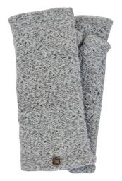Fleece lined - textured - wristwarmers - pale grey