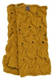 Naya - hand knitted - scroll - wristwarmer - mustard