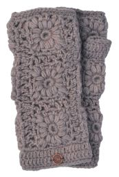 Fleece lined wristwarmer - crochet - Blush Haze