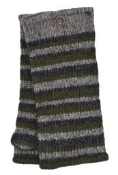 Fleece lined - Random Stripe - Wristwarmer  - Natural/Green