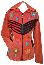 ***SALE*** - 'Cut' and applique flower - hooded jacket - red/black
