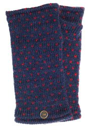 Fleece lined wristwarmer - tick -  Blue/Red