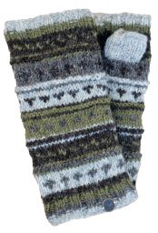 NAYA - hand knit - pattern - wristwarmer - brown/lichen