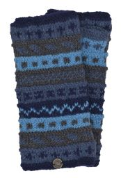 NAYA - hand knit - pattern - wristwarmer - Blues