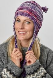 Pure wool - half fleece lined - ridge - ear flap hat - Pink electric