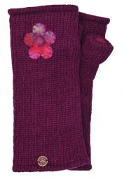 Fleece Lined - Wristwarmers - Felt Flower - Deep Berry