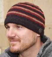NAYA pure wool - random stripe beanie - browns