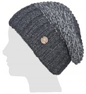 Hand knit - two tone moss - baggy beanie - Charcoal