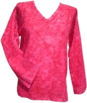 Crackle Dyed Top - Pink