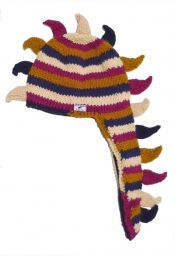 Dino hat - pure wool - hand knitted - fleece lining - berry stripes