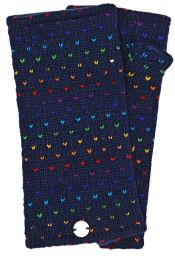 Fleece lined wristwarmer - rainbow tick - Blue