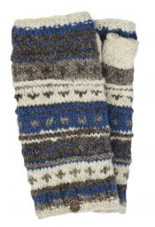 NAYA - hand knit - pattern - wristwarmer - brown/blue