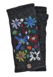 Hand embroidered flower - fleece lined - wristwarmer - Charcoal