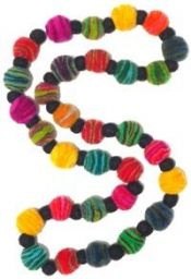 Felt necklace - multi Coloured layers with black dividers