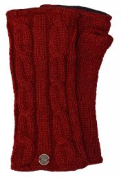 Fleece lined wristwarmer - cable - Deep Red