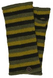 Fleece lined wristwarmer - stripe - greens