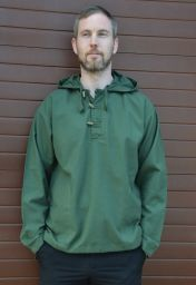 Hooded overshirt  - Toggle fastening - Green