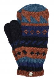 Fleece lined  mittens - patterned - Black Blue