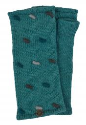 Fleece lined wristwarmers - french knot - Aqua