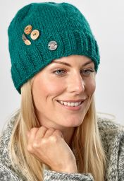 Pure wool - half fleece lined - fruit button beanie - Emerald