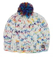 Hand knit - Pure Soft Wool bobble hat - White/Rainbow Mix