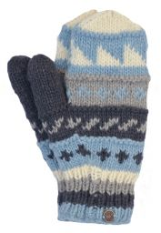 Fleece lined  mittens - patterned - Pale Blue