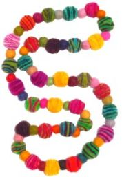 Striped Felt necklace - multi coloured baubles
