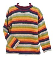 Pure wool jumper - stripe - Woodland