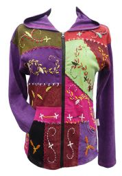 ***SALE*** - Embroidered patchwork hooded jacket - purple