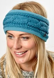 Fleece lined headband - cable - Aqua