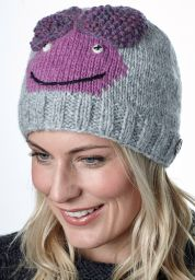 Face beanie - pure wool - hand knitted - fleece lining - Chloe