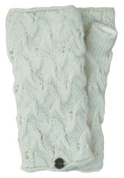 Naya - hand knitted - scroll - wristwarmer - White