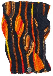 NAYA - pure wool - flame - wristwarmer - black/orange