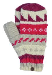 Fleece lined  mittens - patterned - Pinks