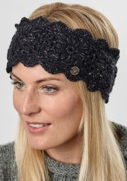 Fleece lined - headband - crochet sparkle - Black