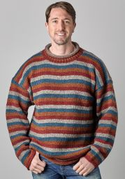 Pure wool jumper - stripe - Brick/Grey