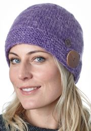 Big button cloche - pure wool - fleece lined - violet