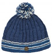 Ribbed bobble hat - pure wool - fleece lining - blue