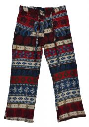 Soft Blanket Trousers - Red/Blue Pattern