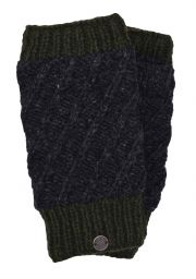 Fleece lined - contrast border - wristwarmer - Charcoal/green