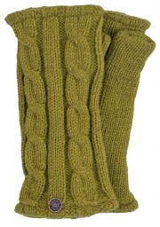 Fleece lined wristwarmer - cable - Moss Green