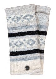Fleece lined wristwarmer - diamond pattern - Pale greys