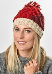 Hand knit - lattice step bobble hat - Reds/cream