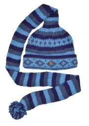 Long tail hat - turn up - pure wool - hand knitted - fleece lining - blues