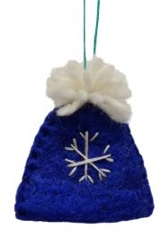 Felt - Christmas Decoration - Bobble Hat - Blue