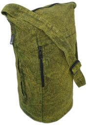 Long canvas - duffle style bag - green
