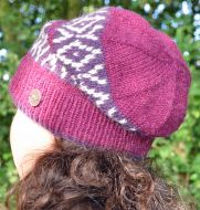 Hand knit - diamond bands - baggy beanie - berry/white